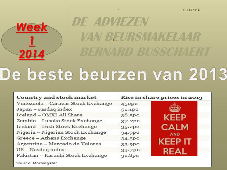 19/08/20141 DE ADVIEZEN VAN BEURSMAKELAAR BERNARD BUSSCHAERT Week 1 2014