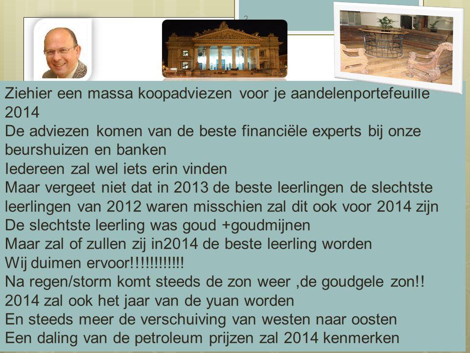 19/08/2014 2 Ziehier een massa koopadviezen voor je aandelenportefeuille 2014 De adviezen komen van de beste financiële experts bij onze beurshuizen e