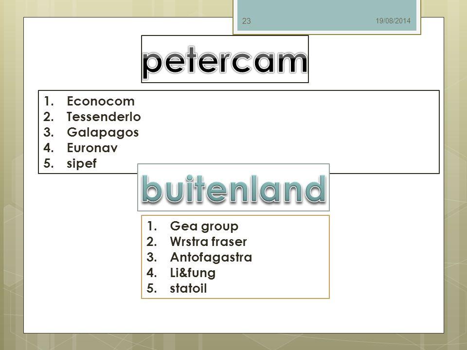 19/08/2014 23 1.Econocom 2.Tessenderlo 3.Galapagos 4.Euronav 5.sipef 1.Gea group 2.Wrstra fraser 3.Antofagastra 4.Li&fung 5.statoil