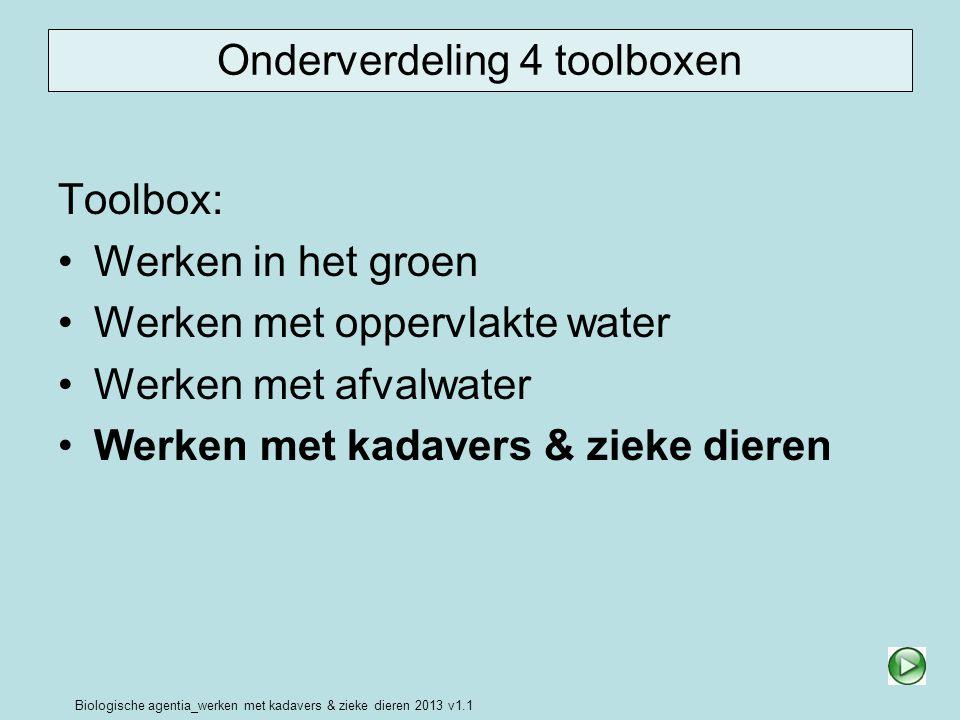 Biologische agentia_werken met kadavers & zieke dieren 2013 v1.1 Onderverdeling 4 toolboxen Toolbox: Werken in het groen Werken met oppervlakte water