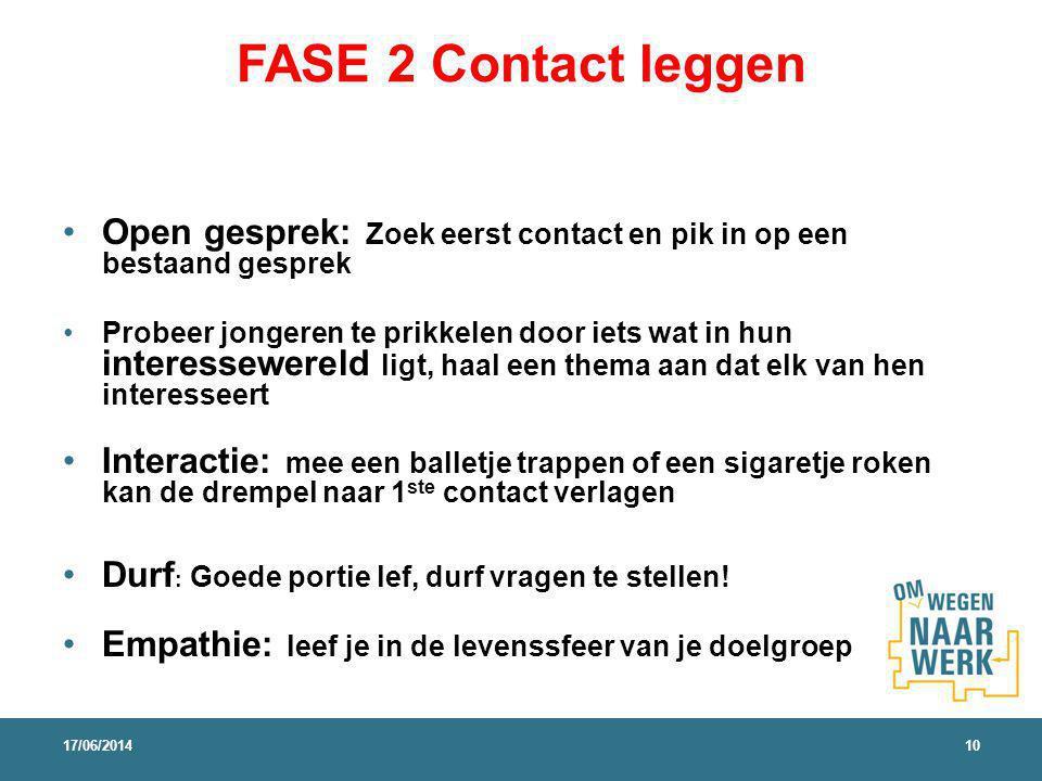 FASE 2 Contact leggen Open gesprek: Zoek eerst contact en pik in op een bestaand gesprek Probeer jongeren te prikkelen door iets wat in hun interessew