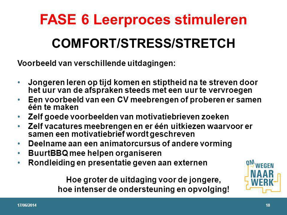 FASE 6 Leerproces stimuleren COMFORT/STRESS/STRETCH Voorbeeld van verschillende uitdagingen: Jongeren leren op tijd komen en stiptheid na te streven d