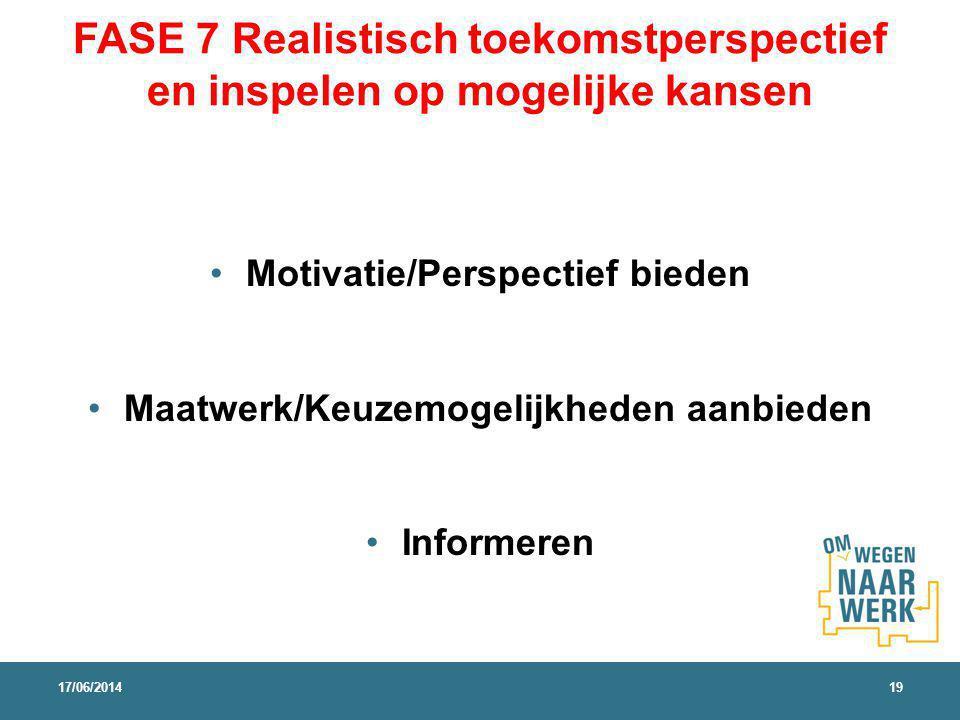 FASE 7 Realistisch toekomstperspectief en inspelen op mogelijke kansen Motivatie/Perspectief bieden Maatwerk/Keuzemogelijkheden aanbieden Informeren 1