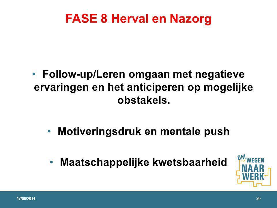 FASE 8 Herval en Nazorg Follow-up/Leren omgaan met negatieve ervaringen en het anticiperen op mogelijke obstakels. Motiveringsdruk en mentale push Maa