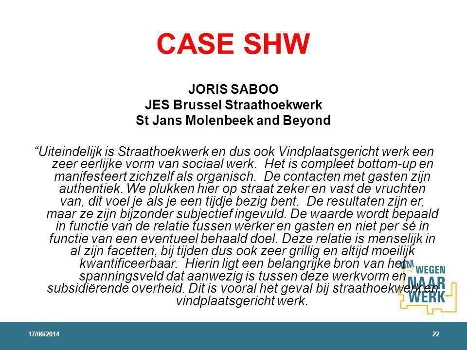 CASE SHW JORIS SABOO JES Brussel Straathoekwerk St Jans Molenbeek and Beyond Uiteindelijk is Straathoekwerk en dus ook Vindplaatsgericht werk een zeer eerlijke vorm van sociaal werk.