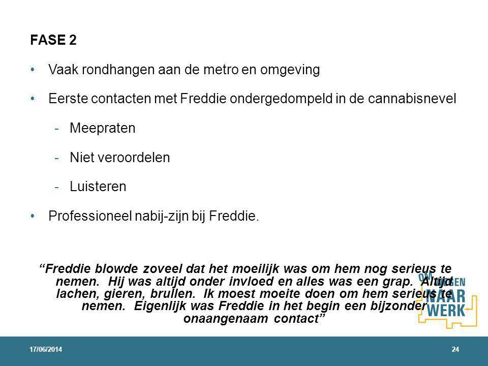 FASE 2 Vaak rondhangen aan de metro en omgeving Eerste contacten met Freddie ondergedompeld in de cannabisnevel - Meepraten - Niet veroordelen - Luisteren Professioneel nabij-zijn bij Freddie.