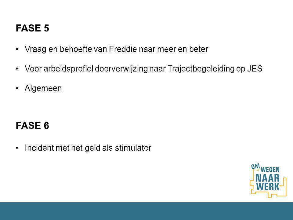 FASE 5 Vraag en behoefte van Freddie naar meer en beter Voor arbeidsprofiel doorverwijzing naar Trajectbegeleiding op JES Algemeen FASE 6 Incident met het geld als stimulator