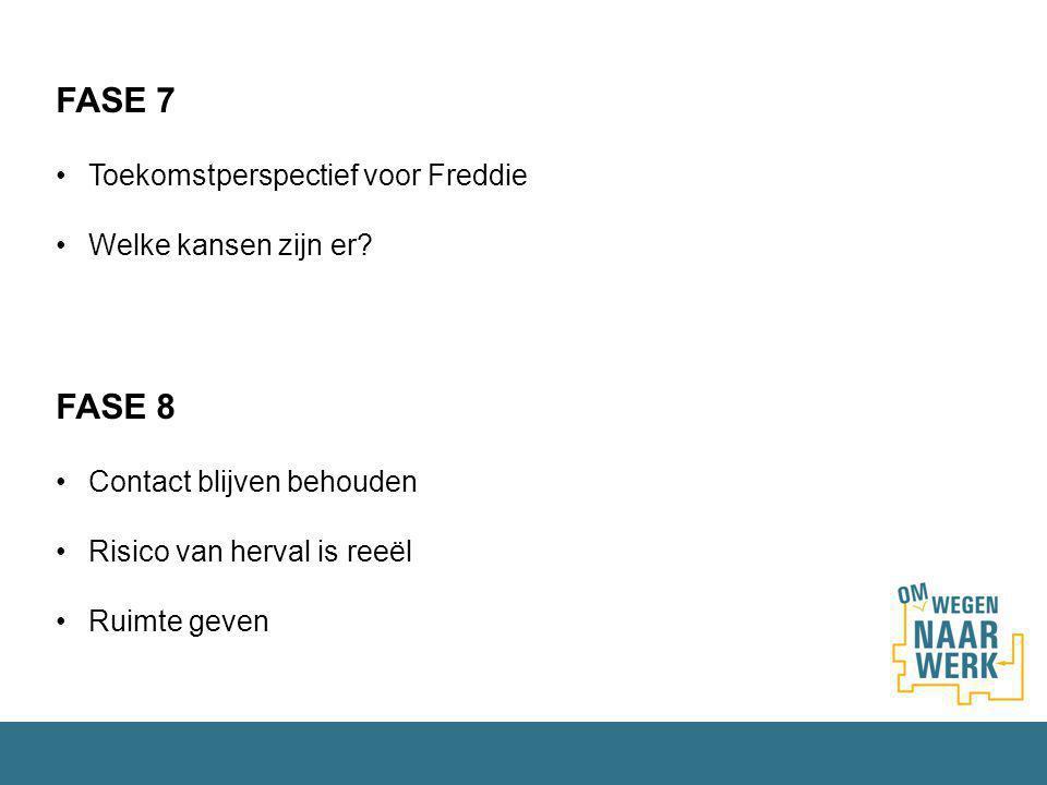 FASE 7 Toekomstperspectief voor Freddie Welke kansen zijn er? FASE 8 Contact blijven behouden Risico van herval is reeël Ruimte geven
