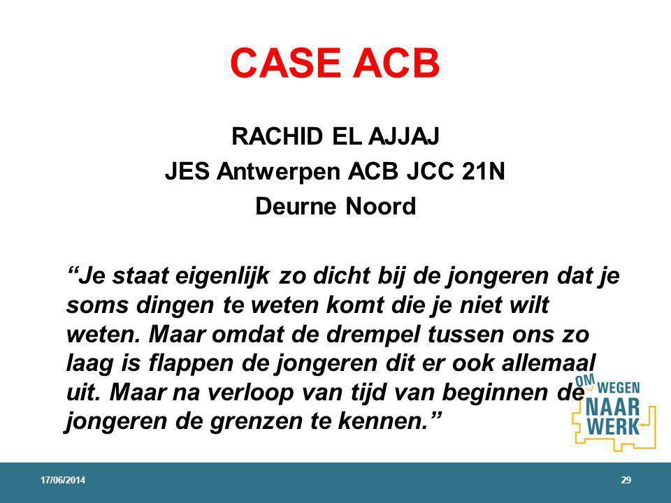 CASE ACB RACHID EL AJJAJ JES Antwerpen ACB JCC 21N Deurne Noord Je staat eigenlijk zo dicht bij de jongeren dat je soms dingen te weten komt die je niet wilt weten.