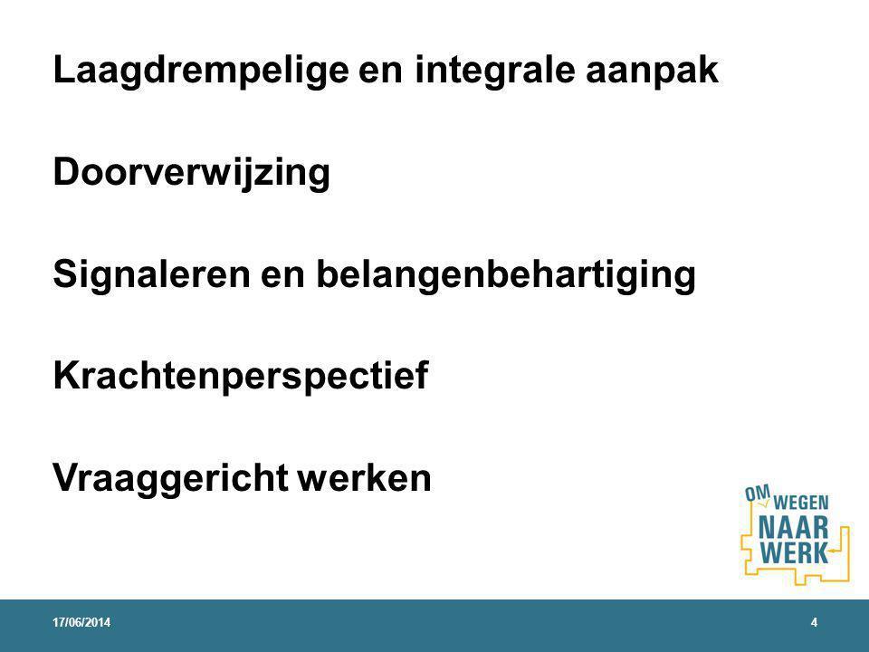 Laagdrempelige en integrale aanpak Doorverwijzing Signaleren en belangenbehartiging Krachtenperspectief Vraaggericht werken 17/06/20144
