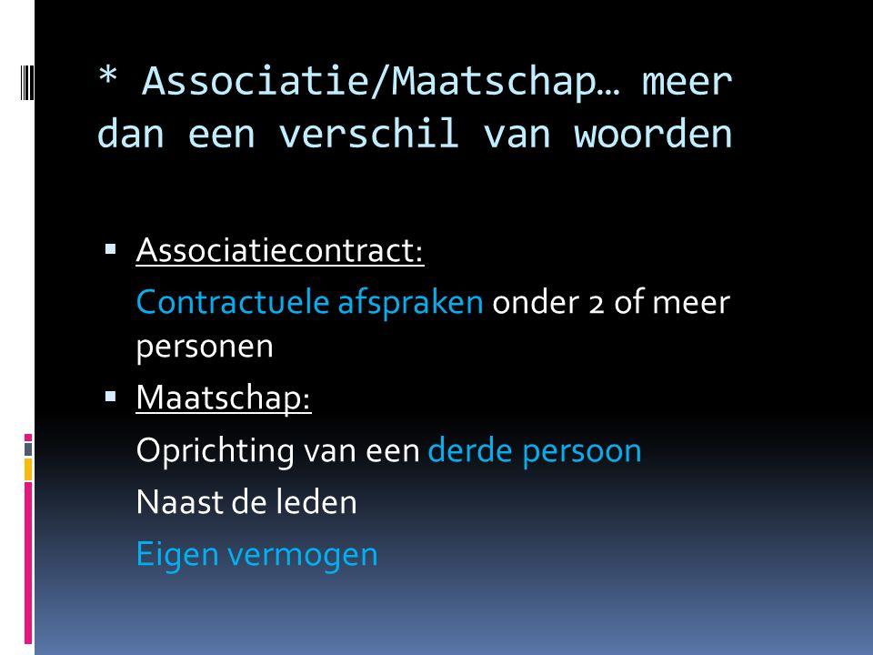* Associatie/Maatschap… meer dan een verschil van woorden  Associatiecontract: Contractuele afspraken onder 2 of meer personen  Maatschap: Oprichting van een derde persoon Naast de leden Eigen vermogen