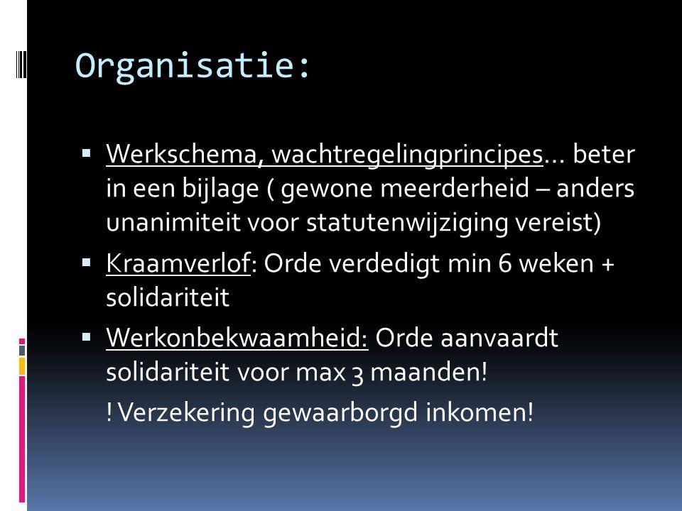 Organisatie:  Werkschema, wachtregelingprincipes… beter in een bijlage ( gewone meerderheid – anders unanimiteit voor statutenwijziging vereist)  Kr