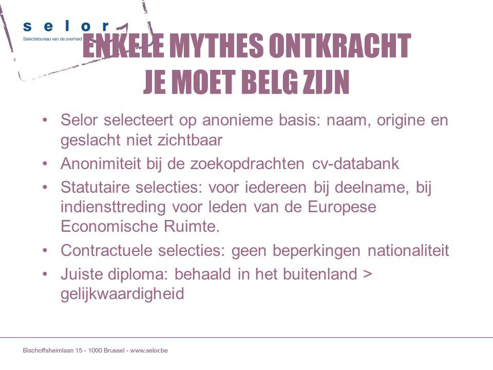 ENKELE MYTHES ONTKRACHT JE MOET BELG ZIJN Selor selecteert op anonieme basis: naam, origine en geslacht niet zichtbaar Anonimiteit bij de zoekopdracht