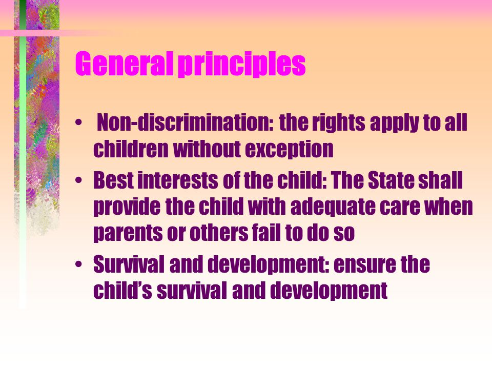 General principles Non-discrimination: the rights apply to all children without exception Best interests of the child: The State shall provide the chi