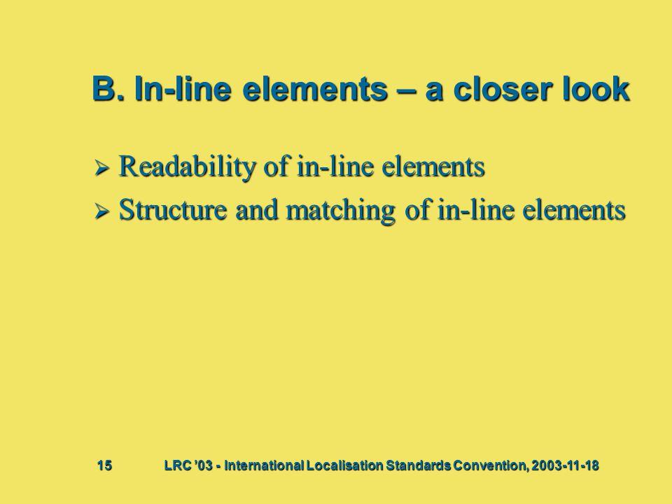 B. In-line elements – a closer look  Readability of in-line elements  Structure and matching of in-line elements Bij deze presentatie vindt waarschi