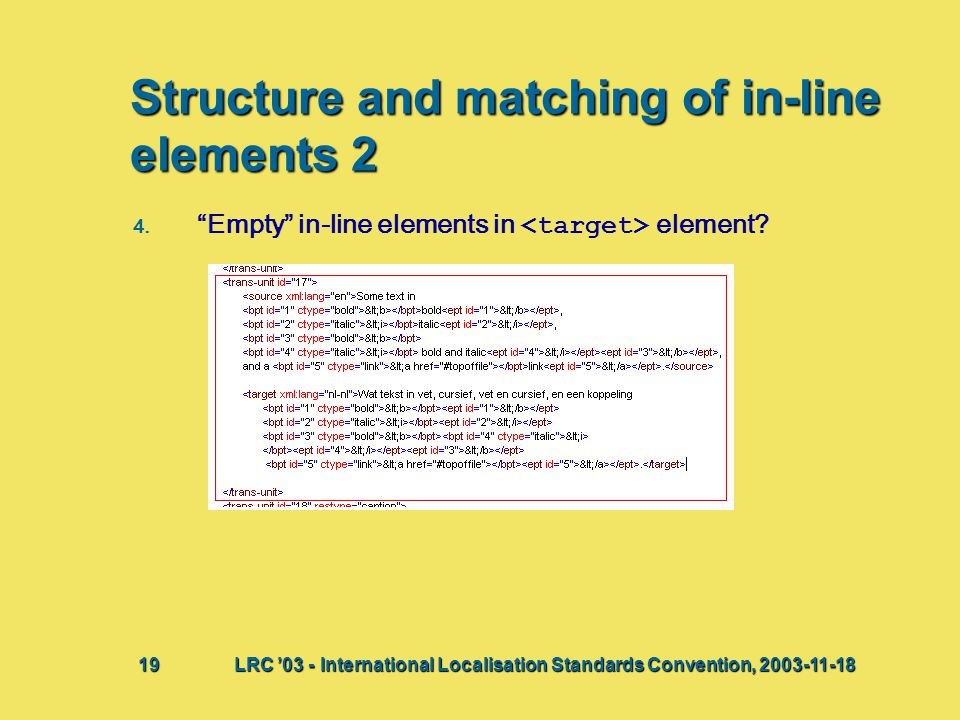 "Structure and matching of in-line elements 2 4. 4. ""Empty"" in-line elements in element? Bij deze presentatie vindt waarschijnlijk een discussie plaats"