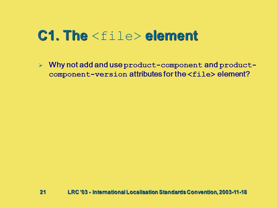 C1. The element   Why not add and use product-component and product- component-version attributes for the element? Bij deze presentatie vindt waarsc