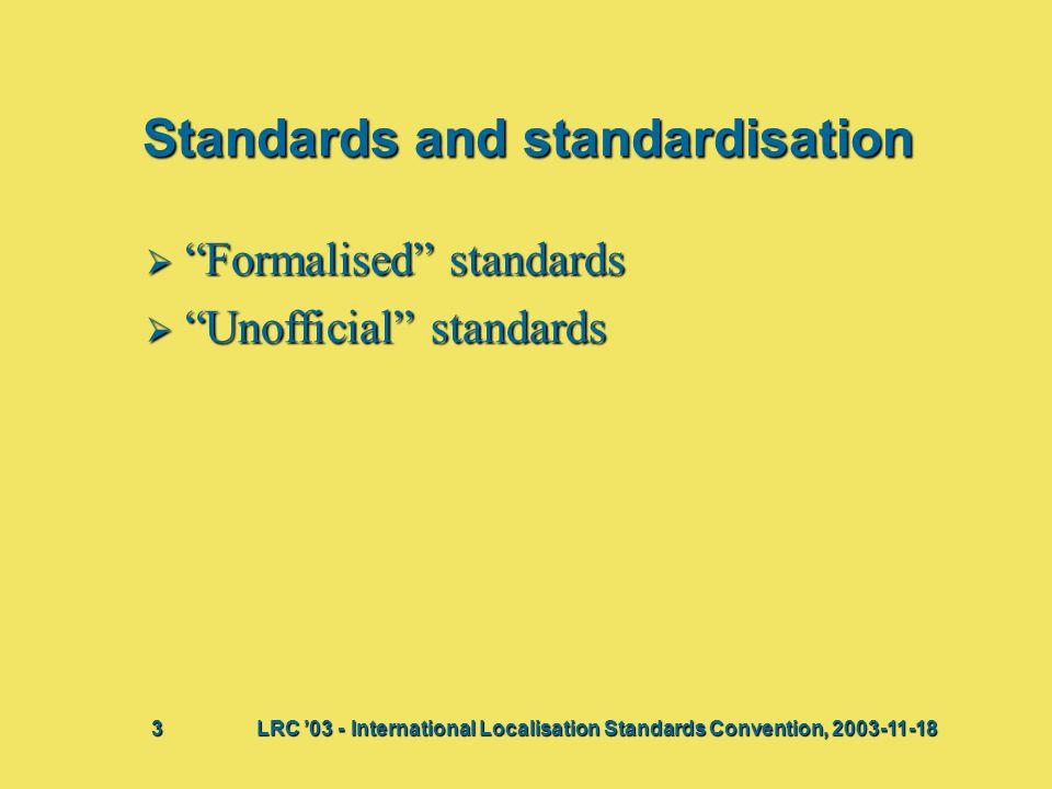 """Standards and standardisation  """"Formalised"""" standards  """"Unofficial"""" standards Bij deze presentatie vindt waarschijnlijk een discussie plaats waaruit"""