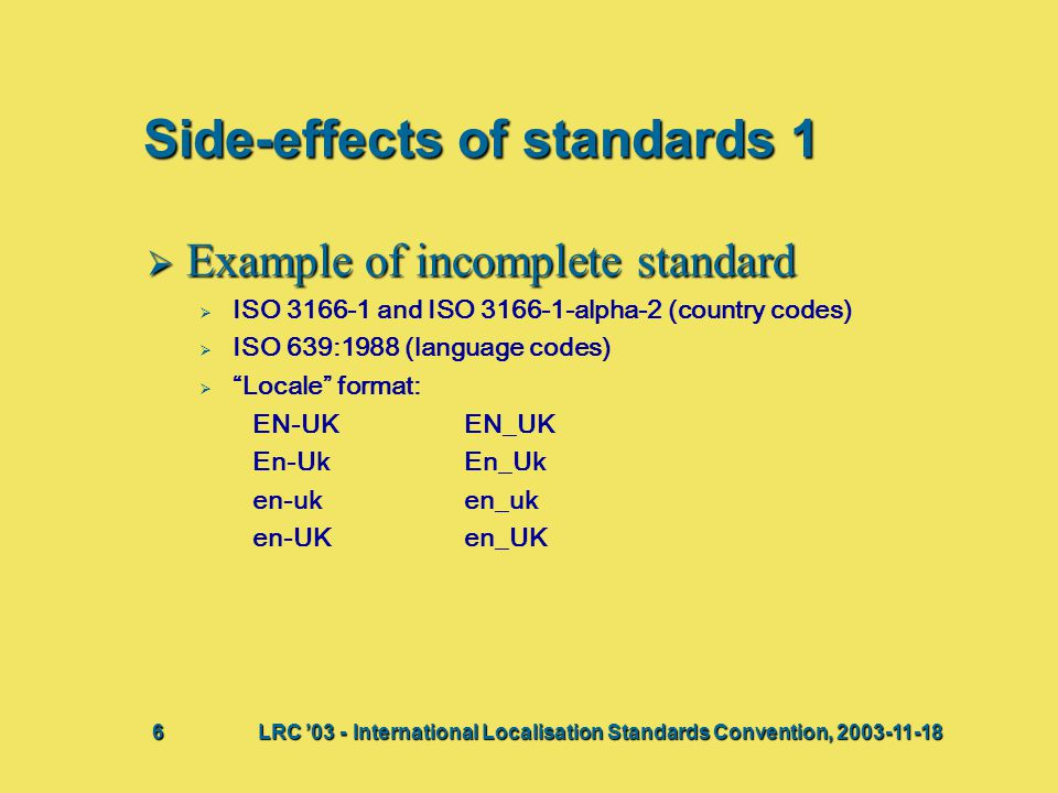 Side-effects of standards 1  Example of incomplete standard   ISO 3166-1 and ISO 3166-1-alpha-2 (country codes)   ISO 639:1988 (language codes) 