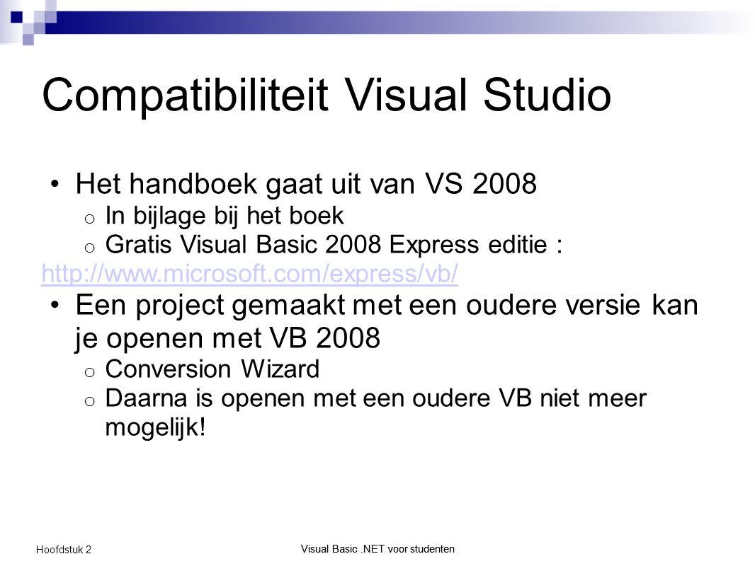 Visual Basic.NET voor studenten Hoofdstuk 2 Visual Basic.NET voor studenten Compatibiliteit Visual Studio Het handboek gaat uit van VS 2008 o In bijlage bij het boek o Gratis Visual Basic 2008 Express editie : http://www.microsoft.com/express/vb/ Een project gemaakt met een oudere versie kan je openen met VB 2008 o Conversion Wizard o Daarna is openen met een oudere VB niet meer mogelijk!