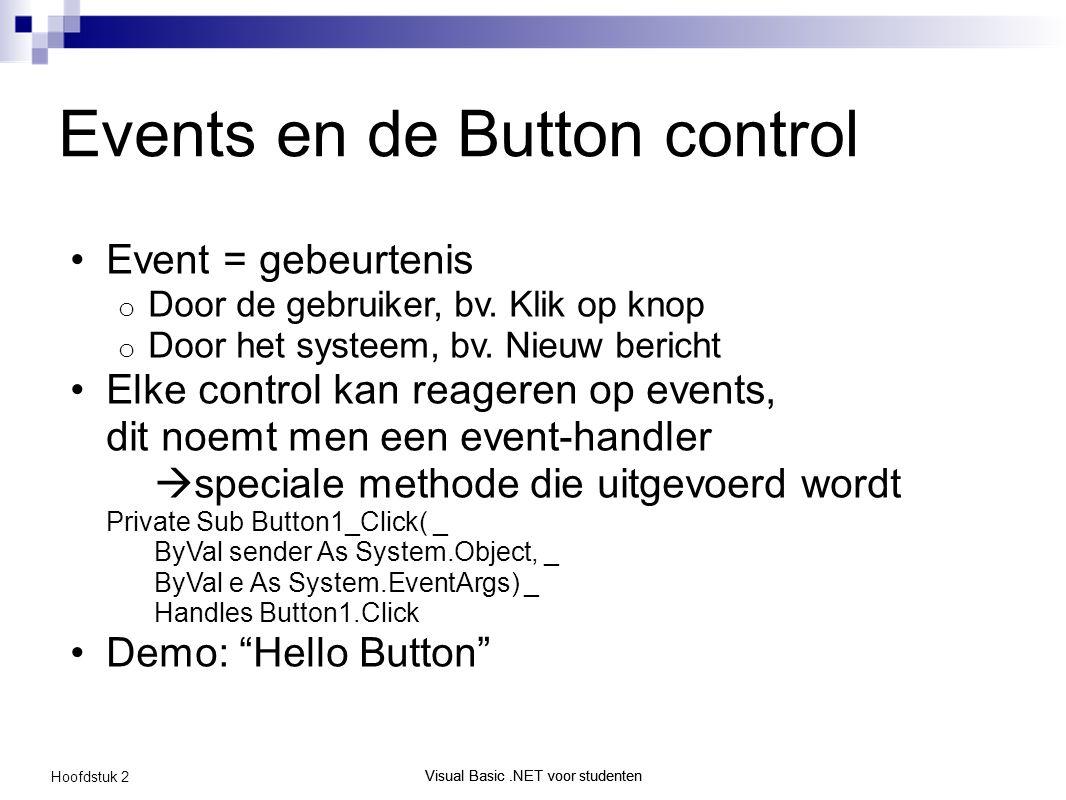 Visual Basic.NET voor studenten Hoofdstuk 2 Visual Basic.NET voor studenten Events en de Button control Event = gebeurtenis o Door de gebruiker, bv.