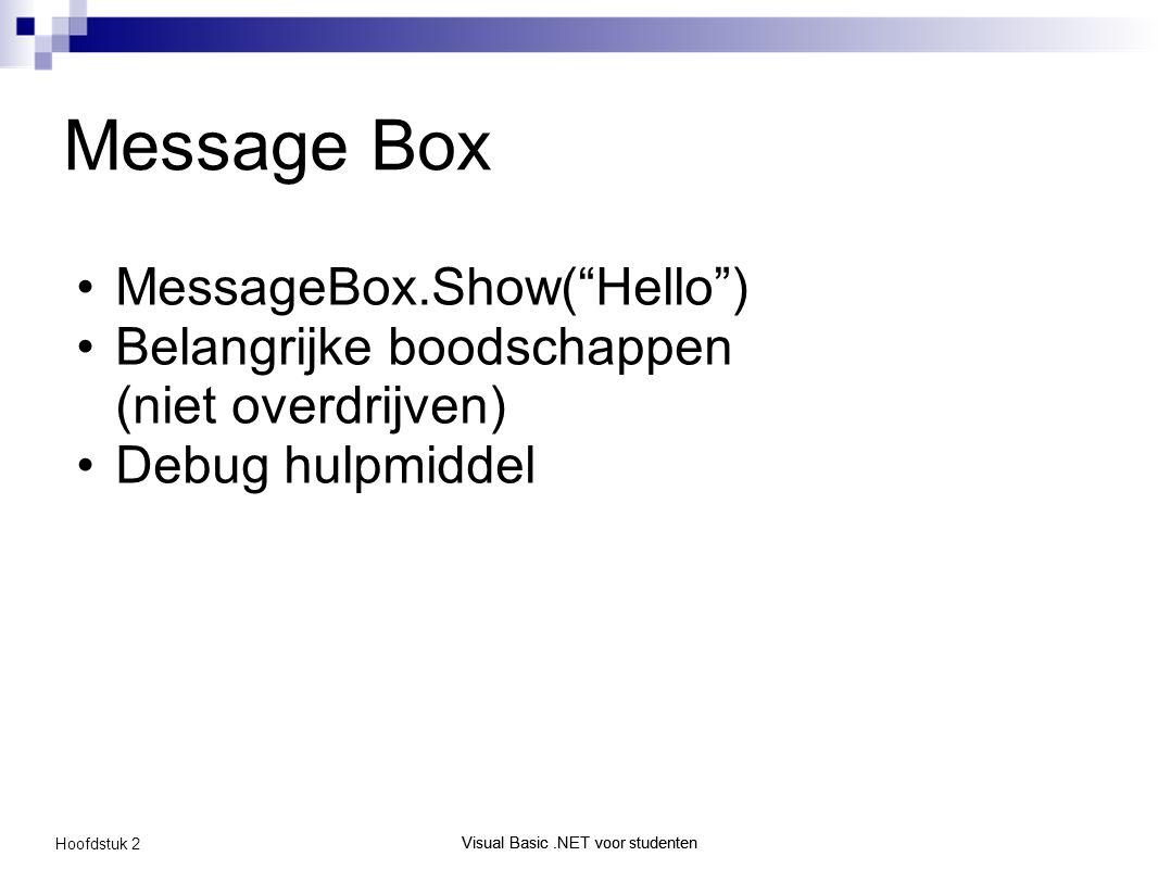 Visual Basic.NET voor studenten Hoofdstuk 2 Visual Basic.NET voor studenten Message Box MessageBox.Show( Hello ) Belangrijke boodschappen (niet overdrijven) Debug hulpmiddel