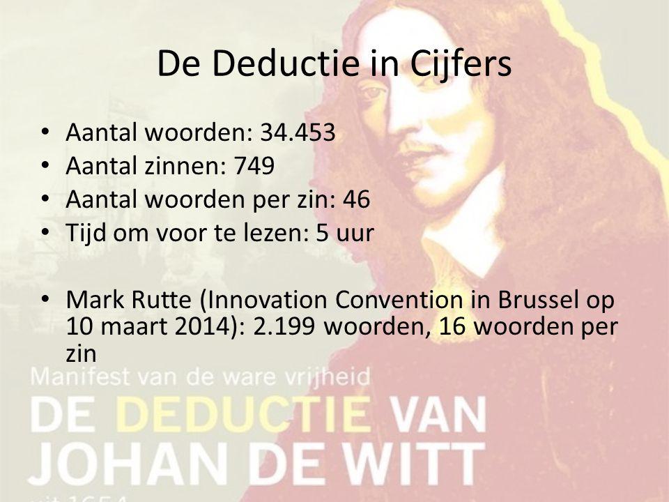 De Deductie in Cijfers Aantal woorden: 34.453 Aantal zinnen: 749 Aantal woorden per zin: 46 Tijd om voor te lezen: 5 uur Mark Rutte (Innovation Conven