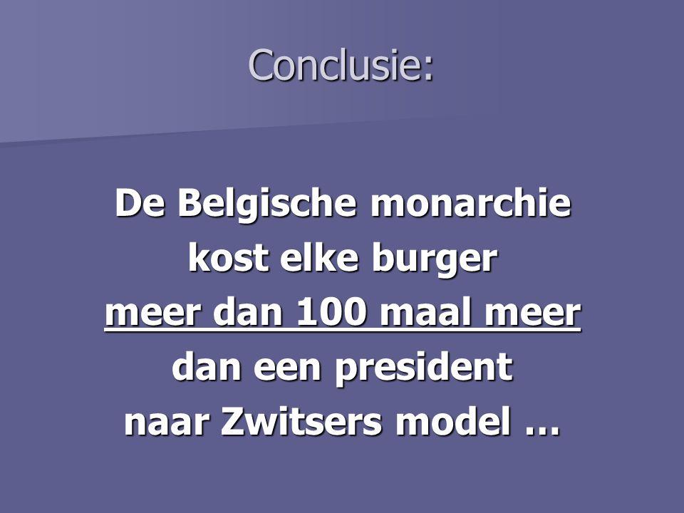 Conclusie: De Belgische monarchie kost elke burger meer dan 100 maal meer dan een president naar Zwitsers model …