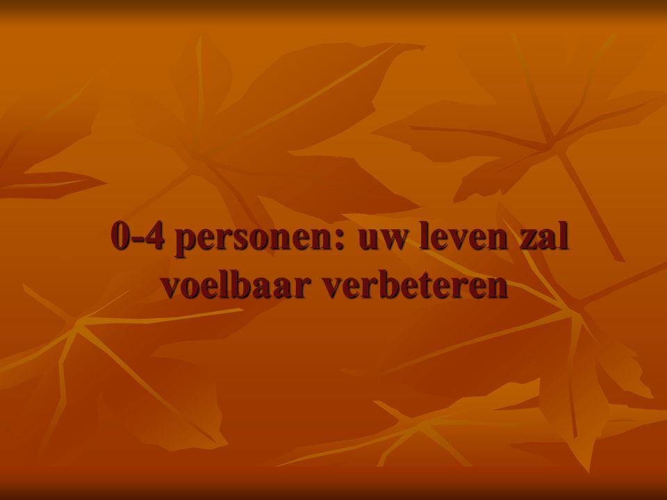 0-4 personen: uw leven zal voelbaar verbeteren 0-4 personen: uw leven zal voelbaar verbeteren