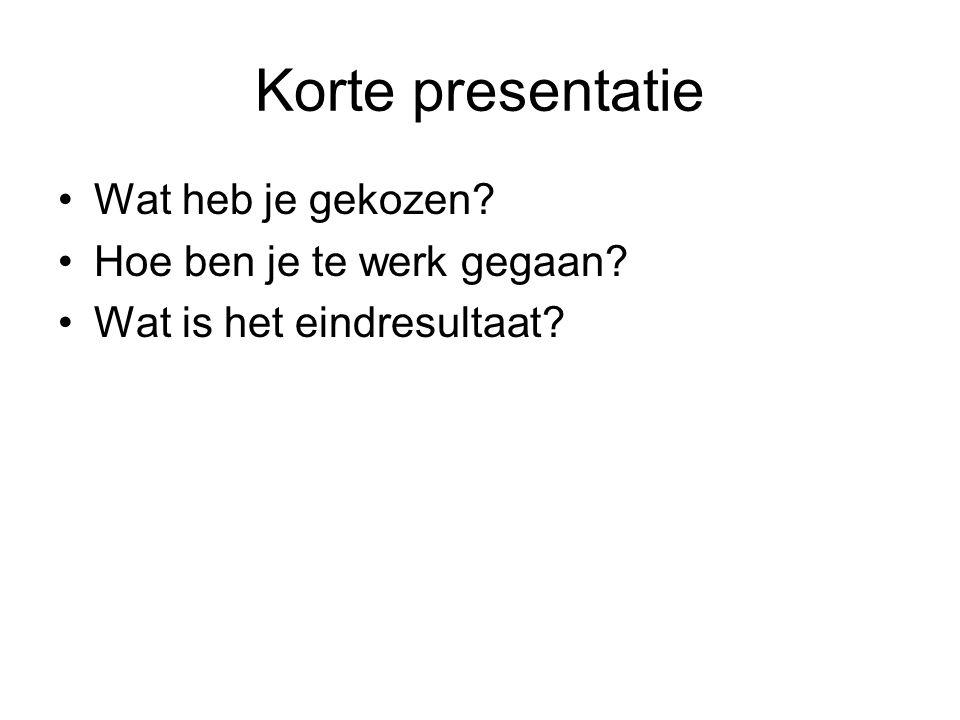 Korte presentatie Wat heb je gekozen? Hoe ben je te werk gegaan? Wat is het eindresultaat?
