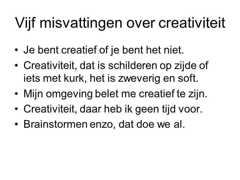 Vijf misvattingen over creativiteit Je bent creatief of je bent het niet. Creativiteit, dat is schilderen op zijde of iets met kurk, het is zweverig e