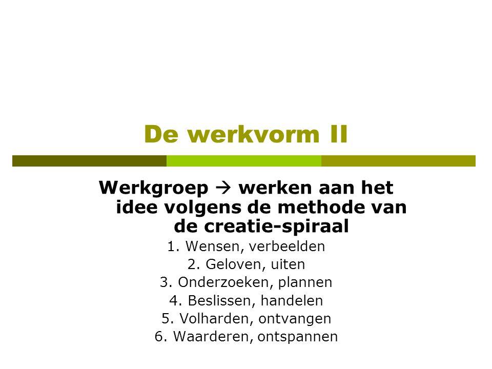 De werkvorm II Werkgroep  werken aan het idee volgens de methode van de creatie-spiraal 1.