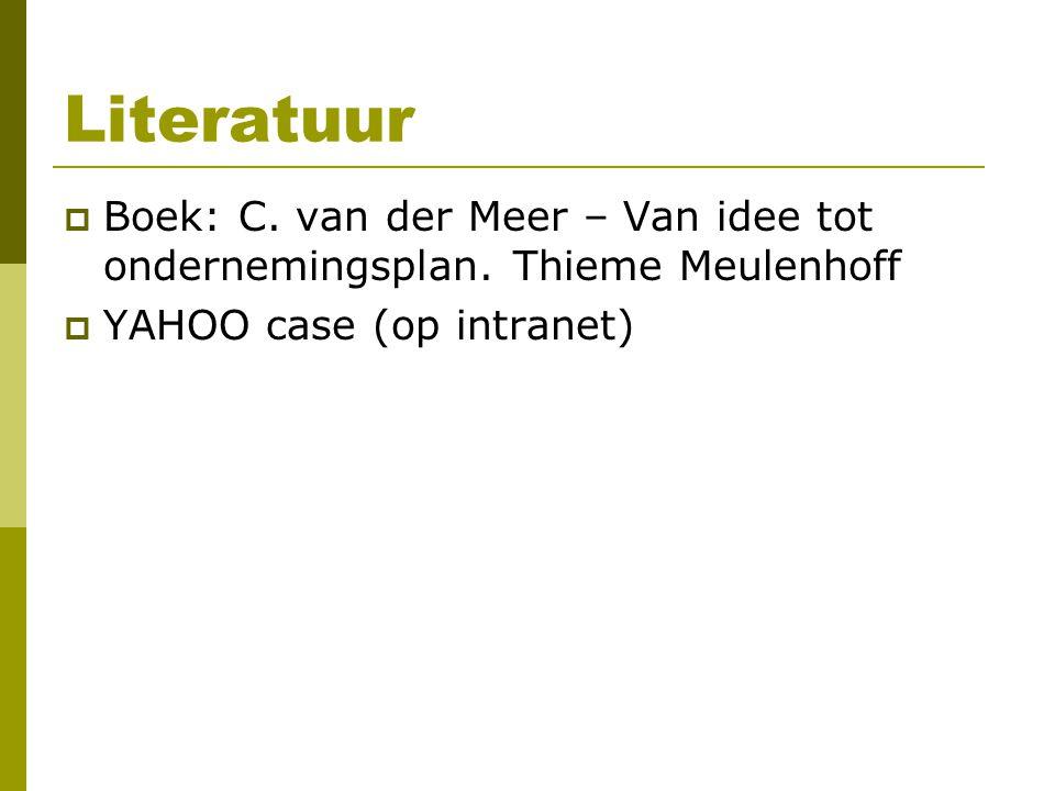 Literatuur  Boek: C.van der Meer – Van idee tot ondernemingsplan.