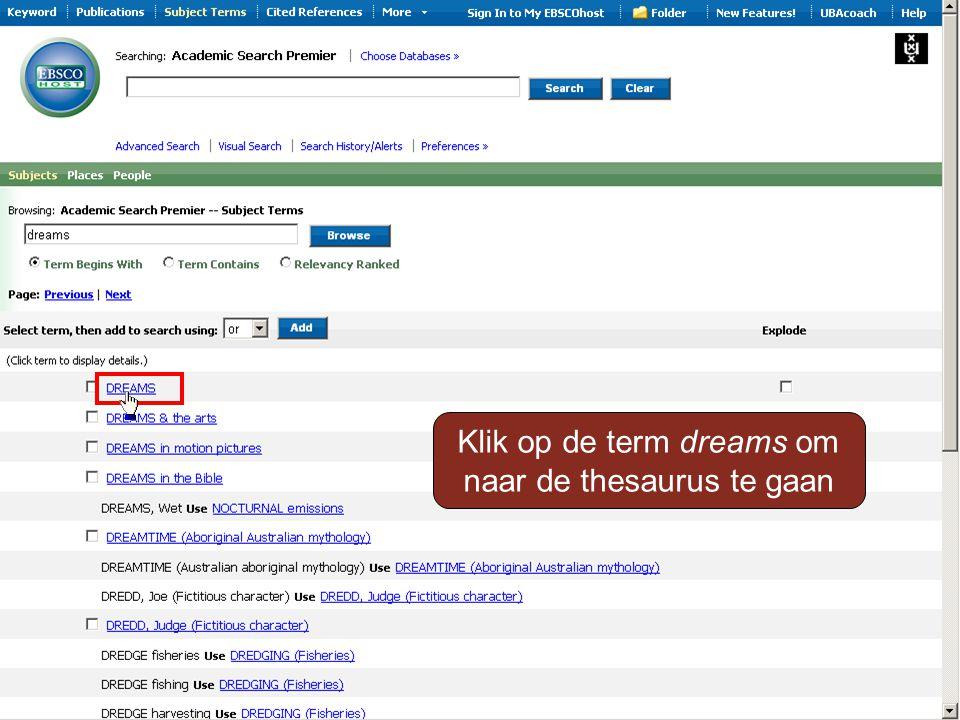 Klik op de term dreams om naar de thesaurus te gaan