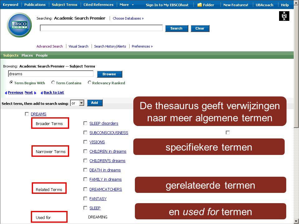De thesaurus geeft verwijzingen naar meer algemene termen specifiekere termen gerelateerde termen en used for termen
