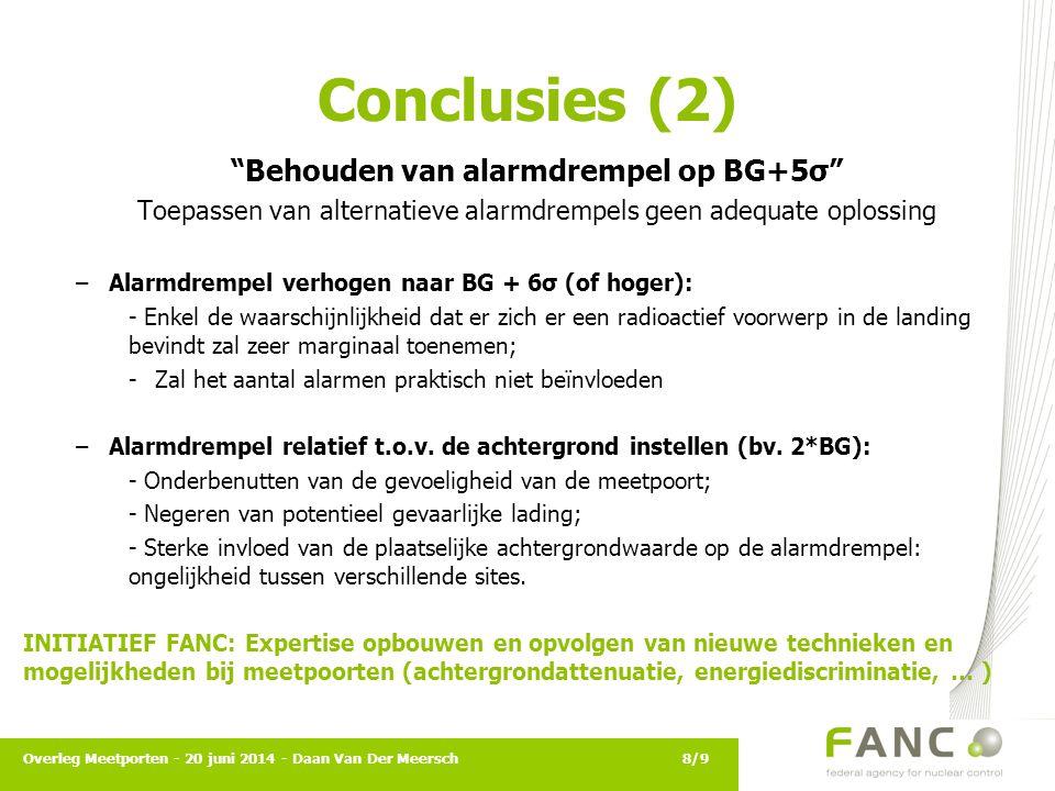"""Conclusies (2) """"Behouden van alarmdrempel op BG+5σ"""" Toepassen van alternatieve alarmdrempels geen adequate oplossing –Alarmdrempel verhogen naar BG +"""