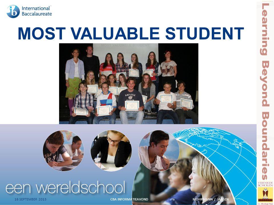 MOST VALUABLE STUDENT 16 SEPTEMBER 2013 CBA INFORMATIEAVONDMOHRMANN / JANSEN