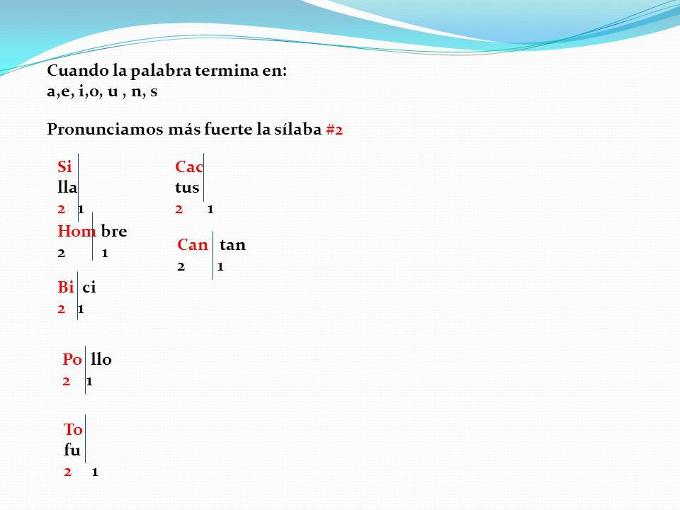 Cuando la palabra termina en: a,e, i,o, u, n, s Pronunciamos más fuerte la sílaba #2 Si lla 2 1 Hom bre 2 1 Bi ci 2 1 Po llo 2 1 To fu 2 1 Cac tus 2 1