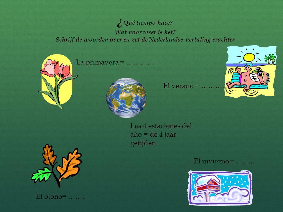 Internet opdrachten Ga naar: Ga naar:  http://www.videoele.com/A2_Que_tiempo_hace.h tml Vul de ontbrekende woorden in (zie achterzijde)  http://www.