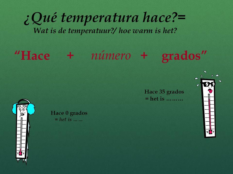 Hace … = het is ….. Voorbeelden: hace sol = het is ….. hace sol = het is ….. …calor (het is warm) …frío=…………frío=……… …viento = het waait …fresco -= ……