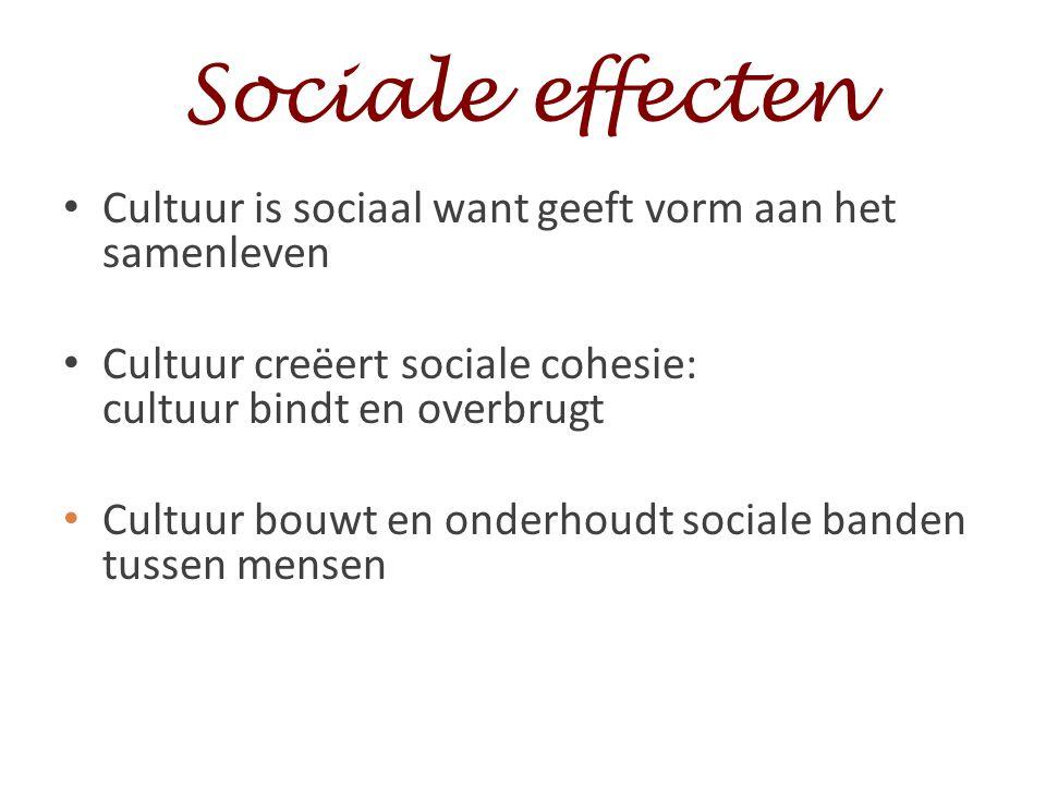Sociale effecten Cultuur is sociaal want geeft vorm aan het samenleven Cultuur creëert sociale cohesie: cultuur bindt en overbrugt Cultuur bouwt en on