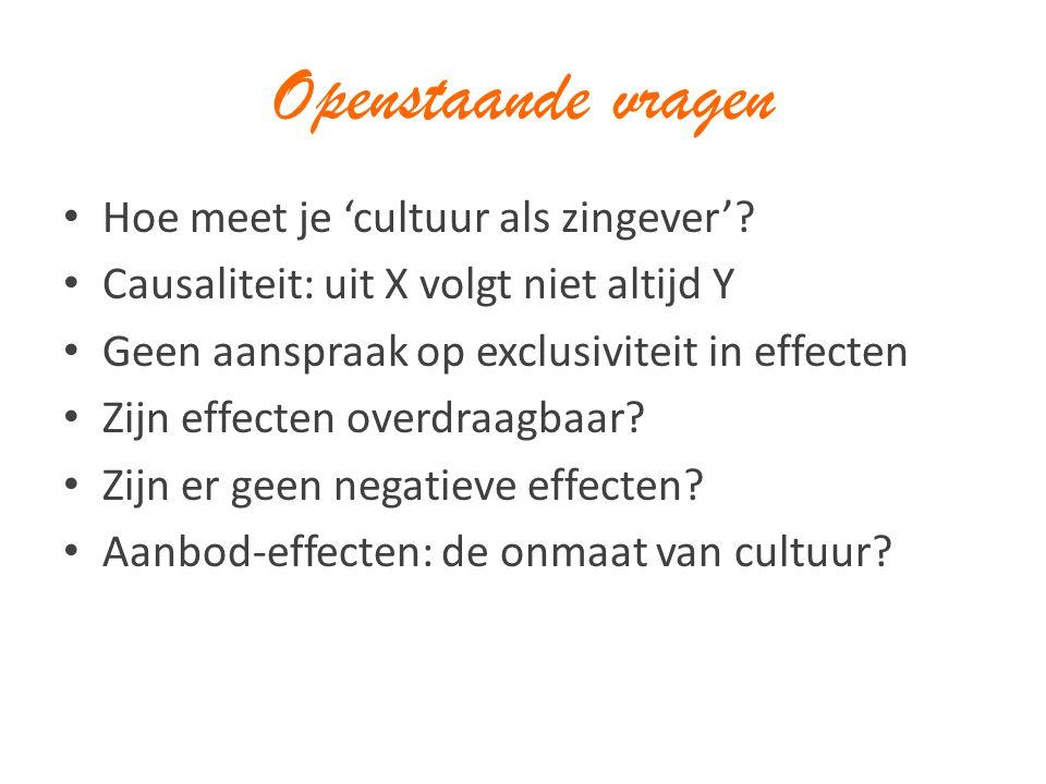 Openstaande vragen Hoe meet je 'cultuur als zingever'? Causaliteit: uit X volgt niet altijd Y Geen aanspraak op exclusiviteit in effecten Zijn effecte