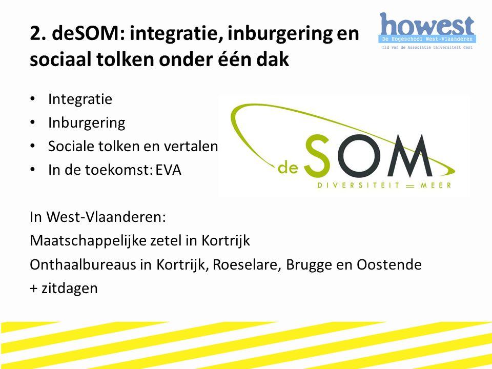 Integratie Inburgering Sociale tolken en vertalen In de toekomst: EVA In West-Vlaanderen: Maatschappelijke zetel in Kortrijk Onthaalbureaus in Kortrij