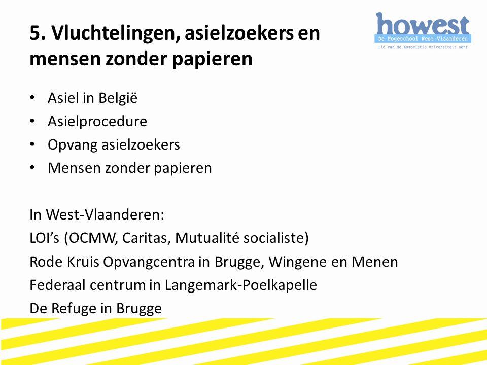 Asiel in België Asielprocedure Opvang asielzoekers Mensen zonder papieren In West-Vlaanderen: LOI's (OCMW, Caritas, Mutualité socialiste) Rode Kruis O