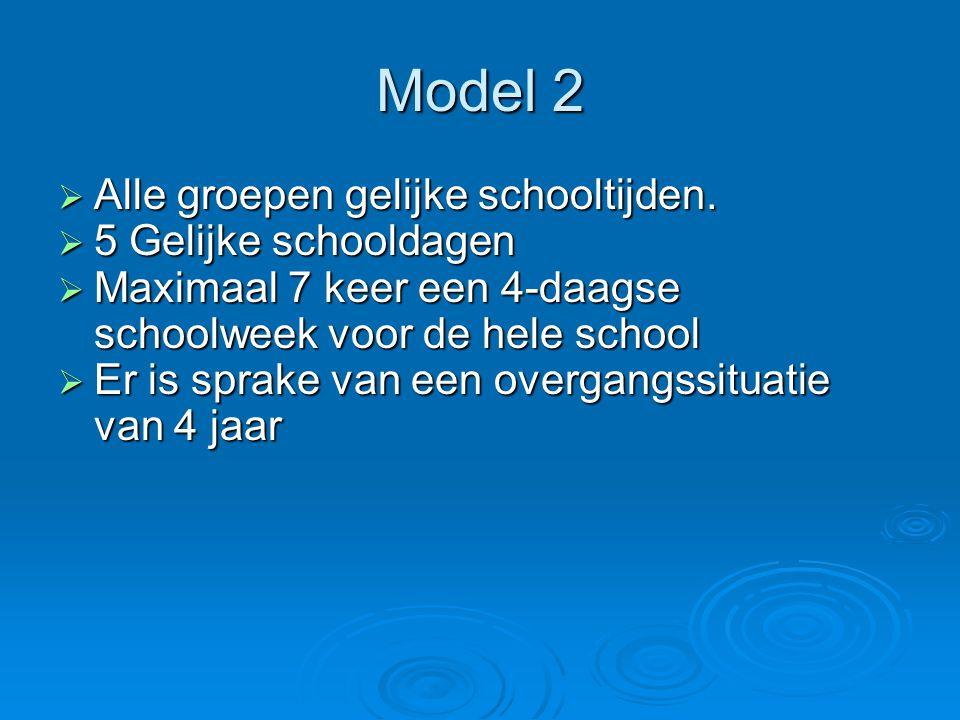 Model 2  Alle groepen gelijke schooltijden.  5 Gelijke schooldagen  Maximaal 7 keer een 4-daagse schoolweek voor de hele school  Er is sprake van