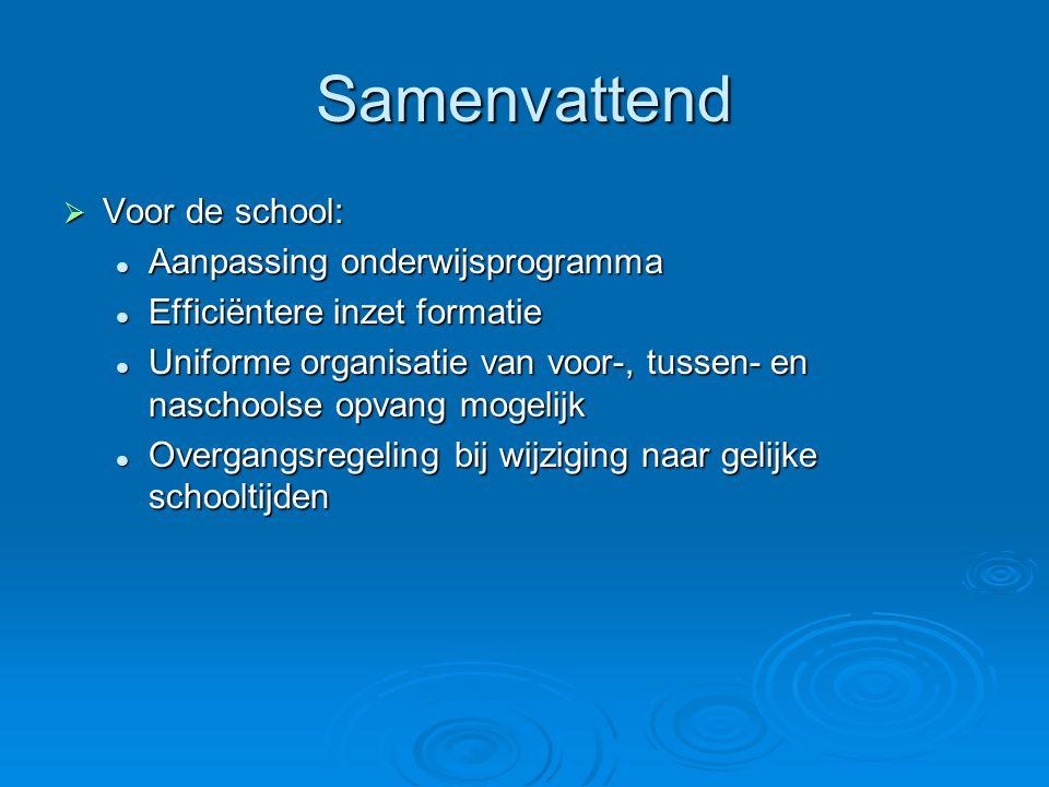 Samenvattend  Voor de school: Aanpassing onderwijsprogramma Aanpassing onderwijsprogramma Efficiëntere inzet formatie Efficiëntere inzet formatie Uni