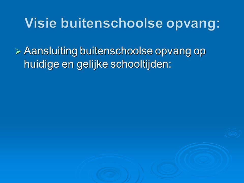  Aansluiting buitenschoolse opvang op huidige en gelijke schooltijden:
