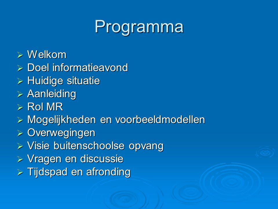 Programma  Welkom  Doel informatieavond  Huidige situatie  Aanleiding  Rol MR  Mogelijkheden en voorbeeldmodellen  Overwegingen  Visie buitens