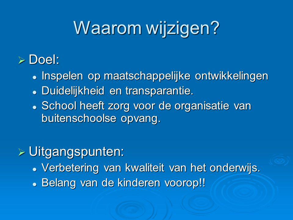 Waarom wijzigen?  Doel: Inspelen op maatschappelijke ontwikkelingen Inspelen op maatschappelijke ontwikkelingen Duidelijkheid en transparantie. Duide
