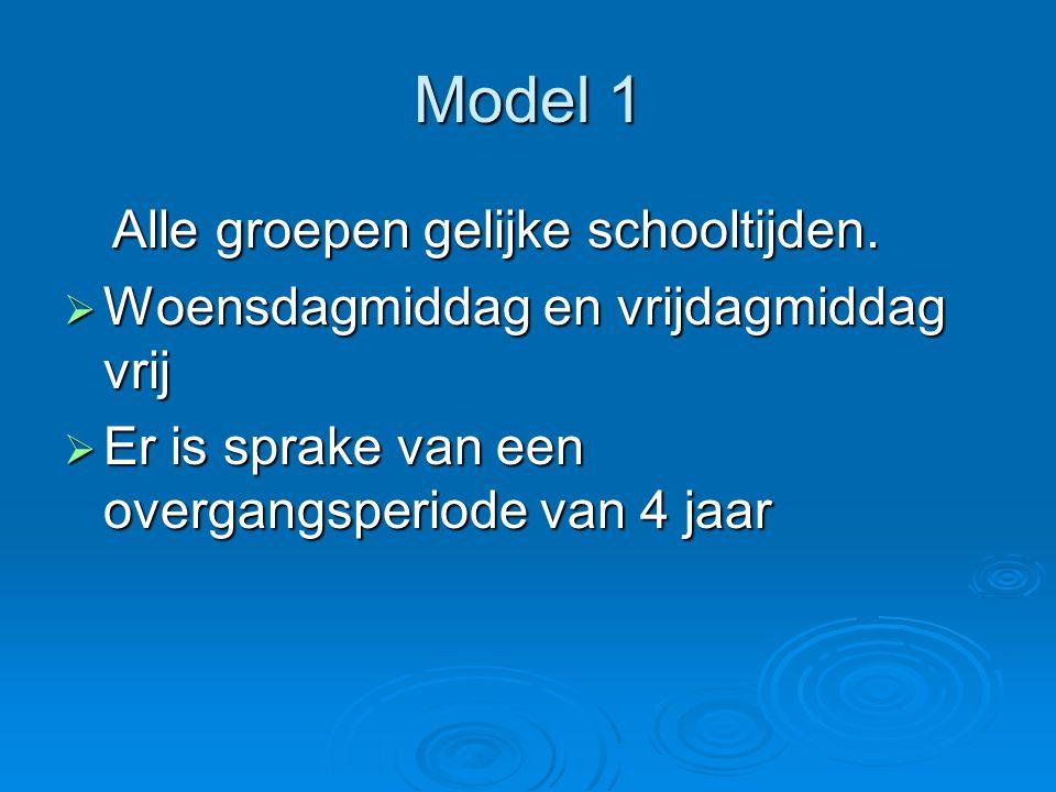 Model 1 Alle groepen gelijke schooltijden. Alle groepen gelijke schooltijden.  Woensdagmiddag en vrijdagmiddag vrij  Er is sprake van een overgangsp